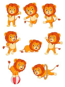 Sammlung von niedlichen löwe-charakter-cartoon