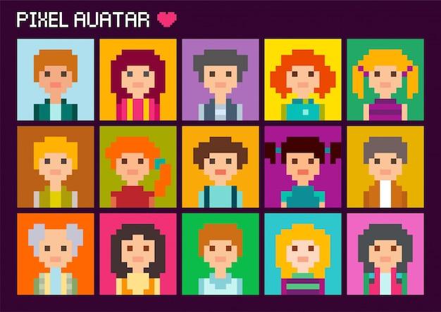Sammlung von niedlichen quadratischen avataren im pixelstil. männliche und weibliche figur.