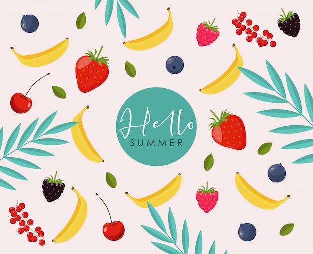Sammlung von niedlichen sommerelementen, tropischem banner, beere, banane, erdbeere, tropischen blattobjekten, sommerkarte