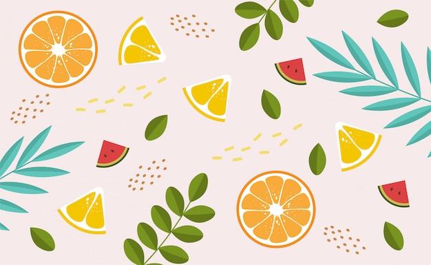 Sammlung von niedlichen sommerelementen, tropischem banner, wassermelone, orange, zitrone, tropischen blattobjekten, sommersaisonkarte