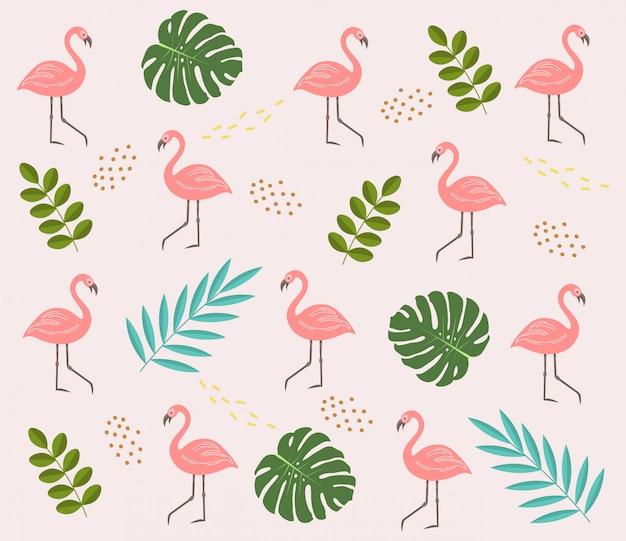 Sammlung von niedlichen sommerelementen, tropischem muster, flamingo, abstrakten formen, tropischen blattobjekten, sommersaisonkarte, verkaufgrafikkarte