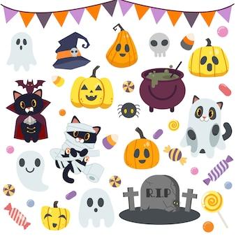 Sammlung von niedlichen süßigkeiten in halloween-party