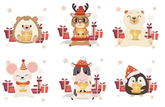 Sammlung von niedlichen tier mit geschenkbox im flachen vektorstil.