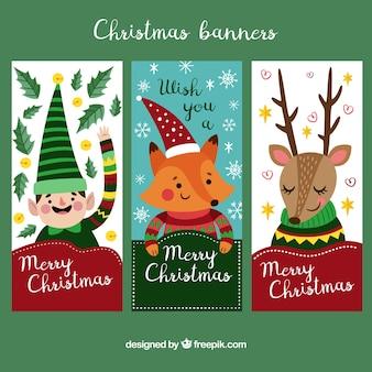 Sammlung von niedlichen vertikalen Weihnachten Banner
