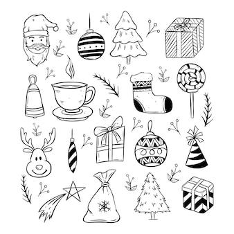 Sammlung von niedlichen weihnachts-icons mit schwarzen und weißen doodle-stil
