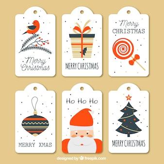 Sammlung von niedlichen weihnachts-tags