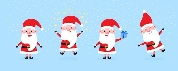 Sammlung von niedlichen weihnachtsmann in verschiedenen posen