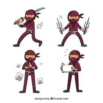 Sammlung von ninja-krieger in verschiedenen besitz