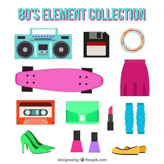 Sammlung von objekten und achtziger jahre kleidung