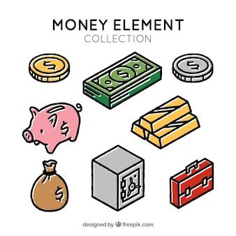 Sammlung von objekten und geld