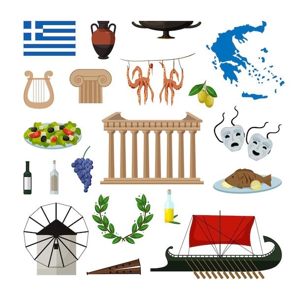 Sammlung von objekten von griechenland