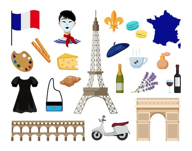 Sammlung von objekten von paris