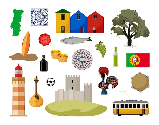 Sammlung von objekten von portugal