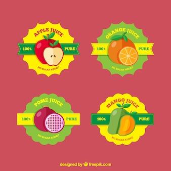 Sammlung von obst-etiketten mit verschiedenen geschmacksrichtungen
