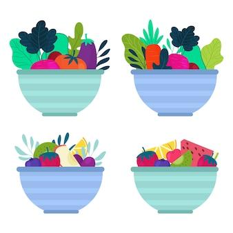 Sammlung von obst- und salatschüsseln