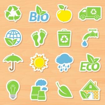 Sammlung von ökologie-aufklebern