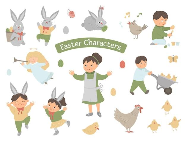 Sammlung von osterfiguren. set mit niedlichen hasen, kindern, bunten eiern, zwitschernden vögeln, küken, engel. lustige illustration des frühlings.