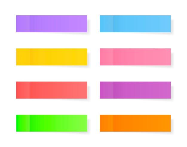 Sammlung von papieraufklebern in verschiedenen farben. haftnotizen. briefpapier posten. platzieren sie einen beliebigen text darauf