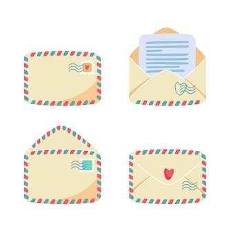 Sammlung von papierumschlägen mit luftpoststreifen. offene, geschlossene vorder-, rückansicht. briefmarken und poststempel darauf, brief oder notiz im inneren. postdienstkonzept. flache karikaturillustration