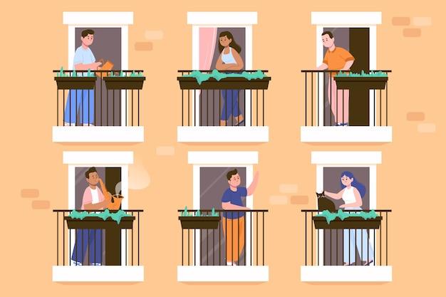 Sammlung von personen, die auf ihren balkonen bleiben
