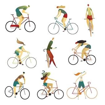 Sammlung von personen, die fahrräder verschiedener arten fahren. satz karikaturmänner und -frauen auf fahrrädern. illustration.