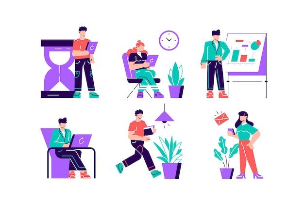 Sammlung von personen, die ihre aufgaben und termine erfolgreich organisieren. szenen mit effizientem und effektivem zeitmanagement und multitasking bei der arbeit. flache artkarikaturillustration