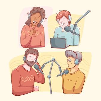 Sammlung von personen, die podcasts aufnehmen und anhören