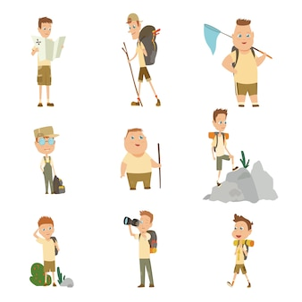 Sammlung von pfadfindern camping