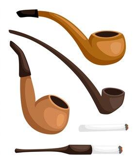 Sammlung von pfeifen. retro tabakpfeifen mit zigarettenspitze. illustration auf weißem hintergrund. webseite und mobile app