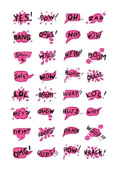 Sammlung von phrasen und komischen wörtern