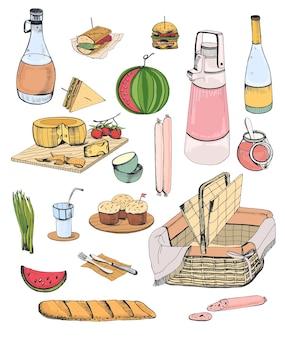 Sammlung von picknick-essen oder inhalt von weidenkorb für mahlzeiten im freien isoliert auf weißem hintergrund - baguette, käse, würstchen, obst, gemüse, wein. bunte handgezeichnete vektor-illustration.