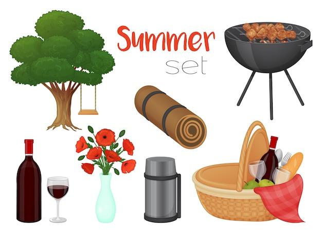 Sammlung von picknickzubehör auf weißem hintergrund. korb, grill, blumen, baum. isoliertes objekt auf weißem hintergrund. cartoon-stil.