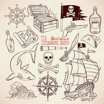 Sammlung von piratenutensilien