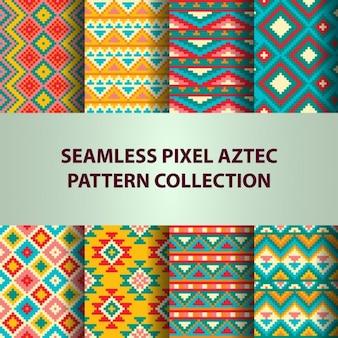Sammlung von pixel bunten nahtlose vektor-muster