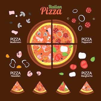 Sammlung von pizza food mit zutaten