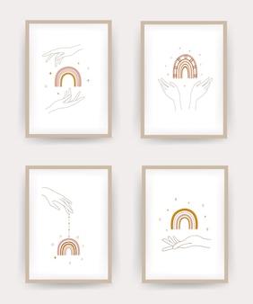 Sammlung von plakaten mit abstraktem regenbogen und händen