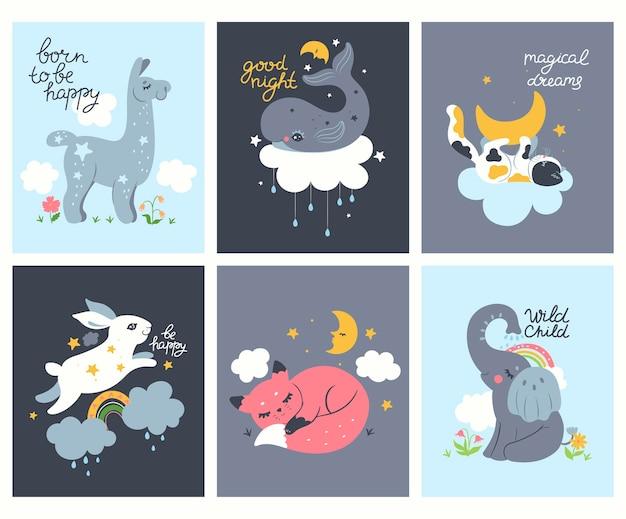 Sammlung von postern für das kinderzimmer mit tieren