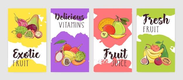 Sammlung von postern von flyer-vorlagen mit haufen von köstlichen reifen frischen saftigen exotischen tropischen früchten gegen helle farbflecken oder flecken auf dem hintergrund. bunte vektorillustration.