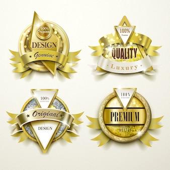 Sammlung von prächtigen gold- und schmucketiketten-design-set
