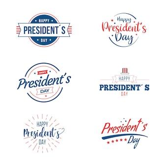 Sammlung von präsidenten day labels