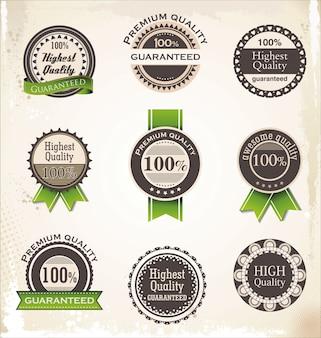 Sammlung von premium-qualitäts- und garantieetiketten