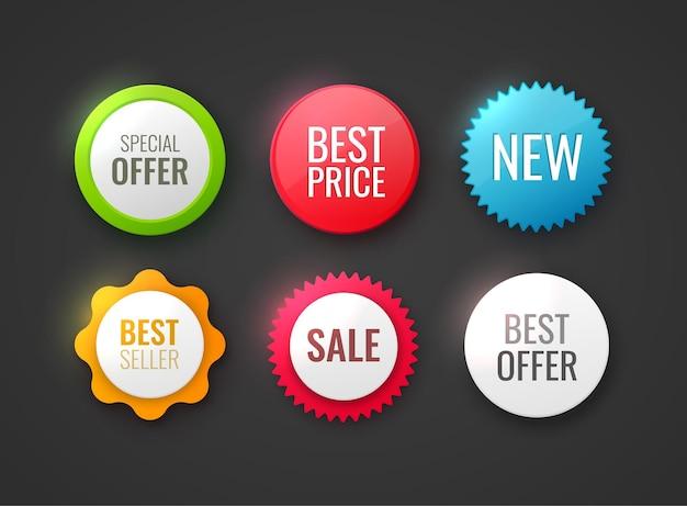 Sammlung von promo-abzeichen in verschiedenen farben und formen, isoliert auf weißem neuem angebot, beste wahl, bester preis und premium-tags