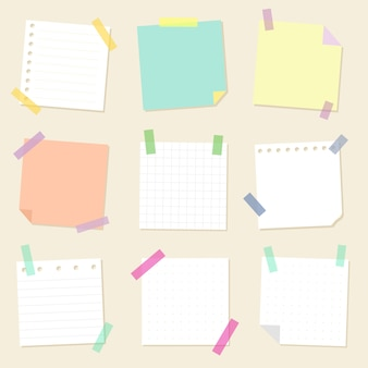 Sammlung von quadratischen blättern erinnerungspapier