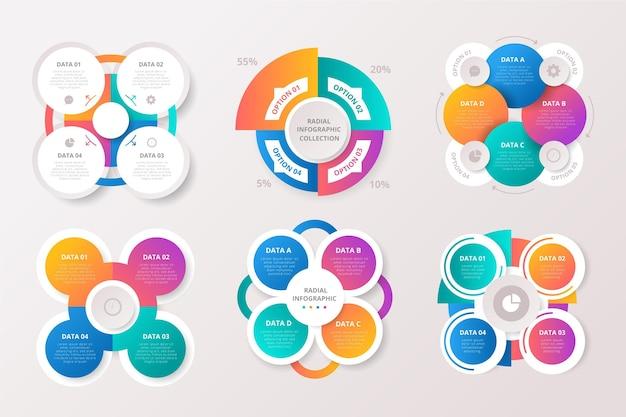 Sammlung von radialen infografiken mit farbverlauf