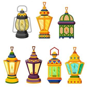 Sammlung von ramadan-kerzenlaternen im schwachlichtmodus