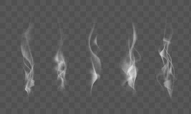 Sammlung von realistischem weißem rauchdampf, wellen aus kaffee, tee, zigaretten, heißem essen einzeln auf transparentem hintergrund. vektor-illustration
