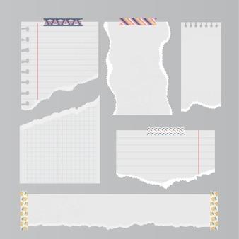 Sammlung von realistischem zerrissenem papier