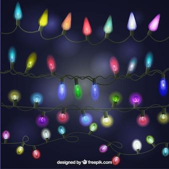 Sammlung von realistischen leuchtenden weihnachtsbeleuchtung