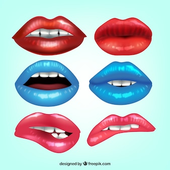 Sammlung von realistischen lippen