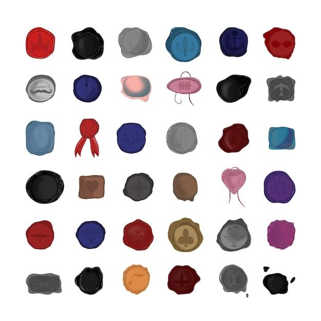 Sammlung von realistischen stempelsiegeln aus wachs.